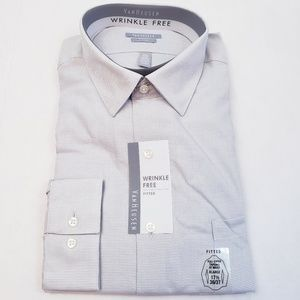 NWT Van Heusen Fitted Button Down shirt gray white